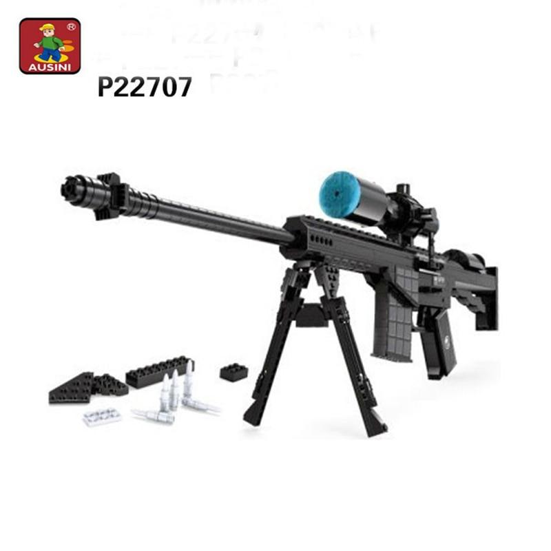 527 piezas Ausini arma M107 modelo de construcción bloques pistola modelo bricolaje ladrillos Rifle pistola juguetes educativos para niños-in Bloques from Juguetes y pasatiempos    1