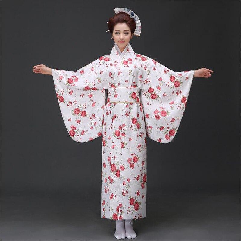 Kimono japonais en Satin de soie blanc Yukata avec Obi robe de soirée traditionnelle Performance Costume de danse taille S M L WK062