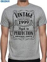 customized T Shirts Online Gildan Crew Neck Men Novelty Short Sleeve 18Th Birthday Vintage Aged Perfection 1999 18 Year Old Tee