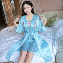 Set(Dress+Outwear)Night Dress Nightgown Sexy Nightwear Lace Patchwork Camisola Lingerie Nighty Silk Sleep Wear Nightdress