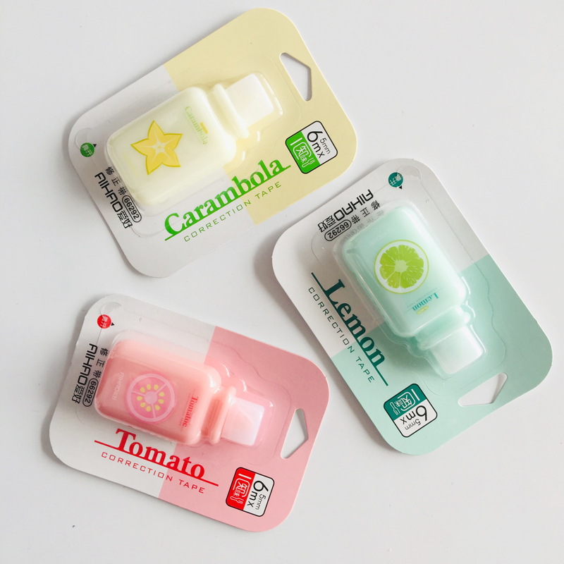 6 Meters Cute Lemon Tomato Caranbola Fruits Correction Tape Correcting Stationery Corrector School Office Supply