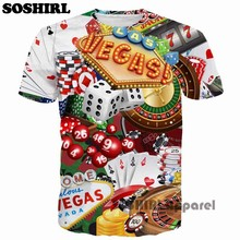 SOSHIRL Poker T Shirt Funny Letter 3D T Shirt Men's Summer Tops US Size(China)