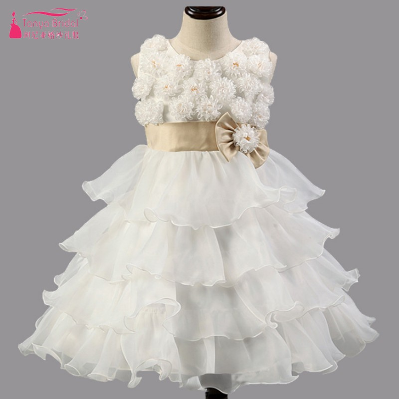 White Cute Puffly   flower     Girl     Dresses   Ruffles Little   girls   Party   Dress   Gown Bow robe enfant mariage China