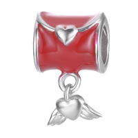 Original New Brand Enamel Red Color Love Letter With Wing Design Accessories For Bracelet Or Necklace