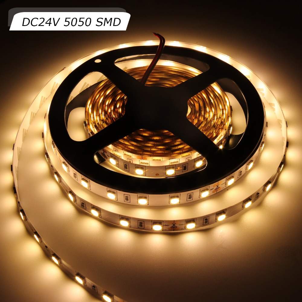 DC <font><b>24V</b></font> Ultra Bright <font><b>LED</b></font> Strip 5m SMD 5050 RGB Flexible Light <font><b>Stripe</b></font> 60Leds/M IP20/IP65 Waterproof Tape Lamps White/Warm White JQ image