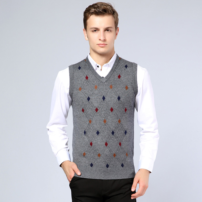 2016 new arrival mens sweater fashion argyle sleeveless for Sweater over shirt men