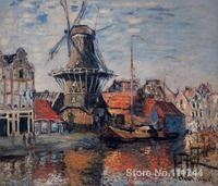 bedroom art Windmill on the Onbekende Canal Amsterdam Claude Monet paintings home decor High quality Hand painted