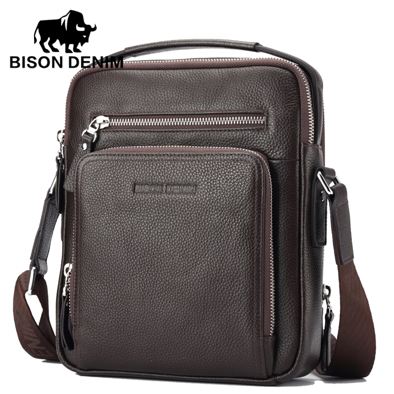 BISON DENIM Genuine Leather Men Bags Hot Sale ipad Handbags Male Messenger Bag M