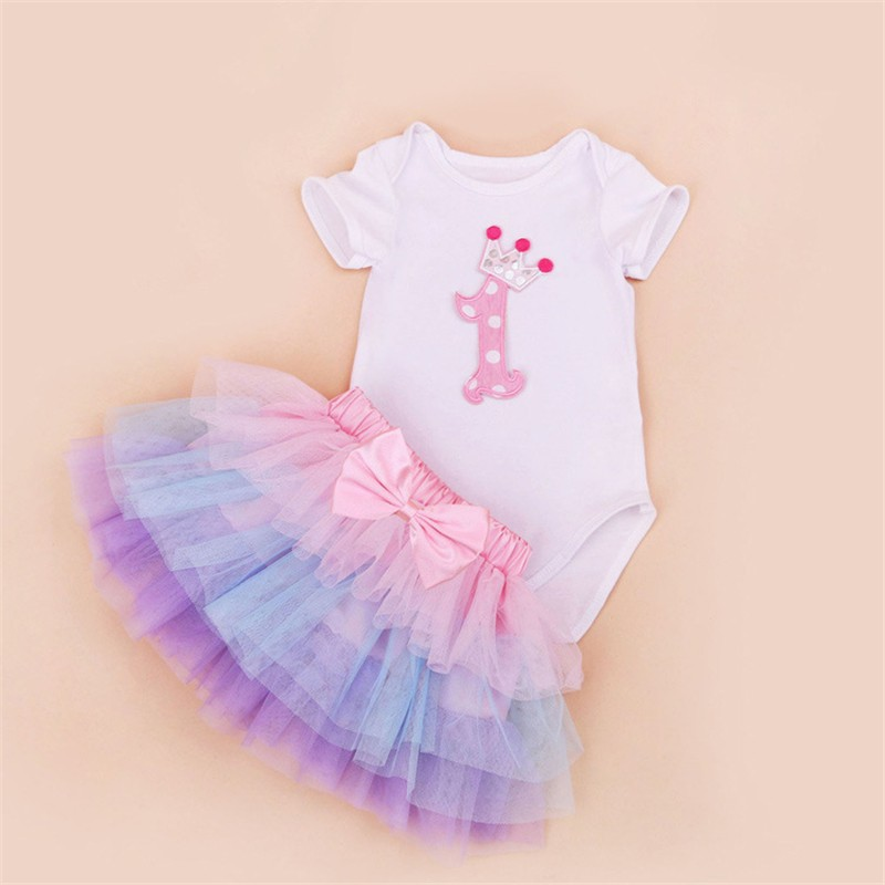 Tutu Baby Birthday Set Summer Short Sleeve Roupas Infantis Bebes 1st Birthday Outfit+Tutu Pettiskirt Dress Party Clothing Sets 8