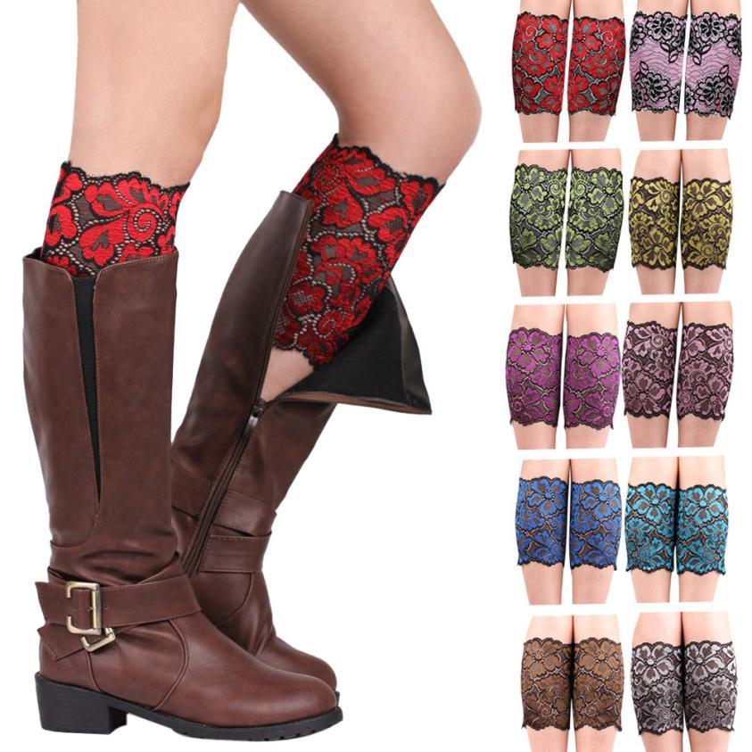 VOT7 vestitiy 28*18cm Women Stretch sexy Lace Boot Leg Cuffs Soft Laced Boot lady Socks,Aug 18