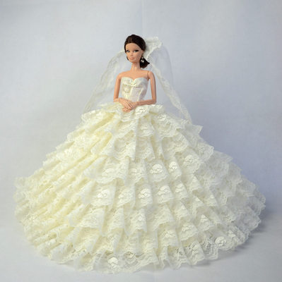 new for barbie doll Wedding clothes lot princess luxury trailing bride wedding dress can children toys handmade birthday dress 貓 帳篷