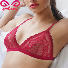 Girlady mulheres sexy sutiã de renda de luxo algodão malha íntimos sutiã unpadded bralette lingerie sem costura feminina floral vermelho femme(China (Mainland))