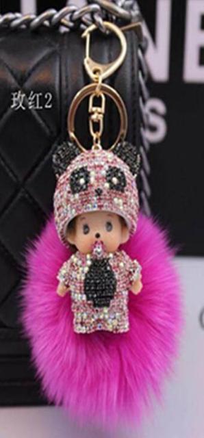 Hot monchichi key chain cubre llaves monchichi sleutelhanger keychains portachiavi rabbit fur ball keychain fur pom pom keychain