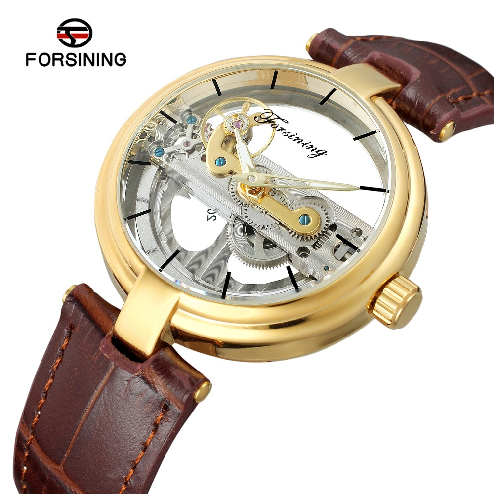FORSINING Men s High End Vintage Automatic Movement Popular Unique Style Genuine Leather Strap Skeleton Wristwatch
