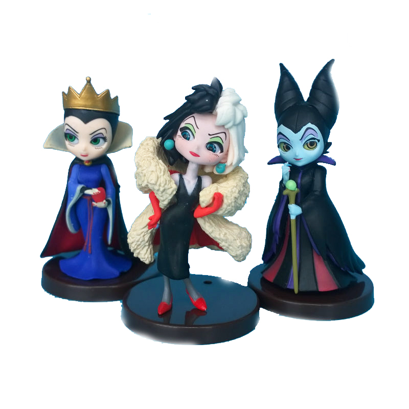 3 pçs/set Maléfica Da Disney Princesa Boneca Maleficent QUNNE PVC action Figure toy presente para as crianças