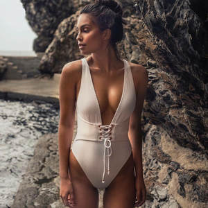 Sexy Bandage One Piece Swimsuit 2018 Beach Wear Women Swimwear Deep V Swim Suit