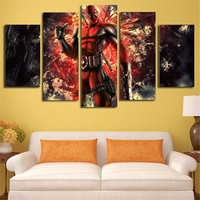 5 Panels Canvas Painting starry sky Rick Poster Wall Art Painting Modern Home Decor Picture For Living Room Framework