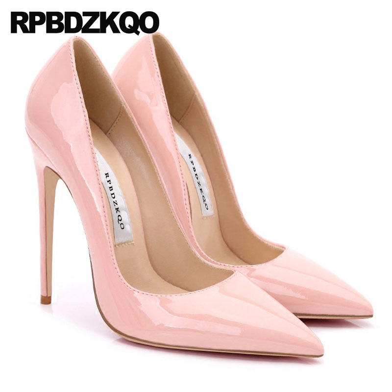 купить Peach Extreme Ultra High Heels Pumps Women Catwalk Super 4 Inch Wedding Shoes Classic Scarpin Size 33 Patent Leather Pointed Toe недорого