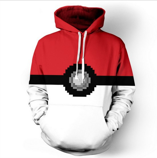 2017 Fashion Pokemon Go Logo Trainer Hoodies Anime Cosplay Costume Hoody Sweatershirt For Men Women Large Size Dropship