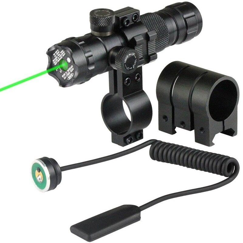 Montaje láser táctico verde rojo punto láser vista Rifle caza pistola alcance 20mm Airsoftsport Rail y barril presión interruptor montaje nuevo