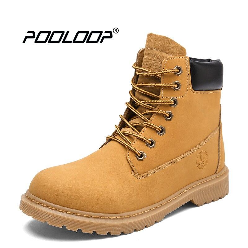 POOLOOP Durable hommes minuterie bottes chaussures de travail imperméables à lacets bottes de Combat décontracté chaussures de marche en plein air amoureux bottes