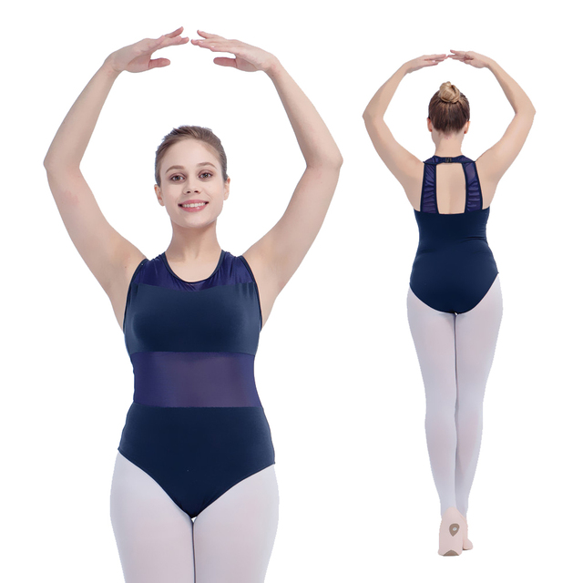 Retail Wholesale Black and More Color Tank Cotton/Lycra with Mesh Ballet Dancing Leotard for Ladies and Girls