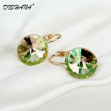 2016 Fashion Jewelry Gold-color Earring For Women Austrian Crystal Purple Drop Earrings Stone Pendientes Mujer Moda Earing E0001