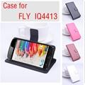 Para fly iq4413 case capa com carteira, boa qualidade couro case + capa dura de volta para a mosca iq 4413 celular