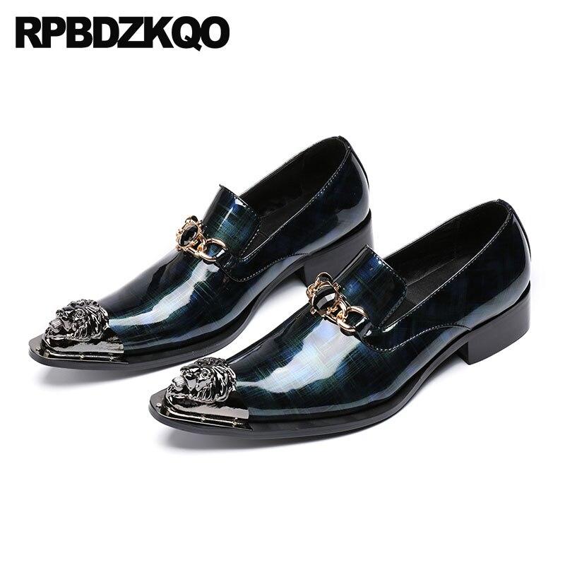 Grande Apontou Pontas Casamento Chique Azul Toe De Formal Metal Se Homens Com Vestem Sapatos Itália Tamanho Italiana 47 Couro Marca Marinho 11 qgn1w55T