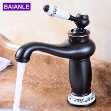 Free Shipping Deck Mounted Solid Brass Bathroom Sink Basin Faucet Black Brass Ceramic Handle Retro Style Mixer Tap  стоимость