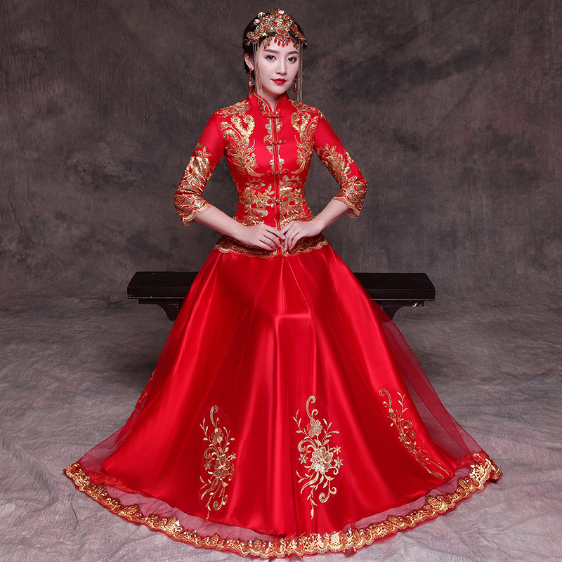 2018 Red Cheongsam Long Qipao Women Dress Evening Dress Modern Chinese Wedding Dress Bride Traditions Robe Orientale