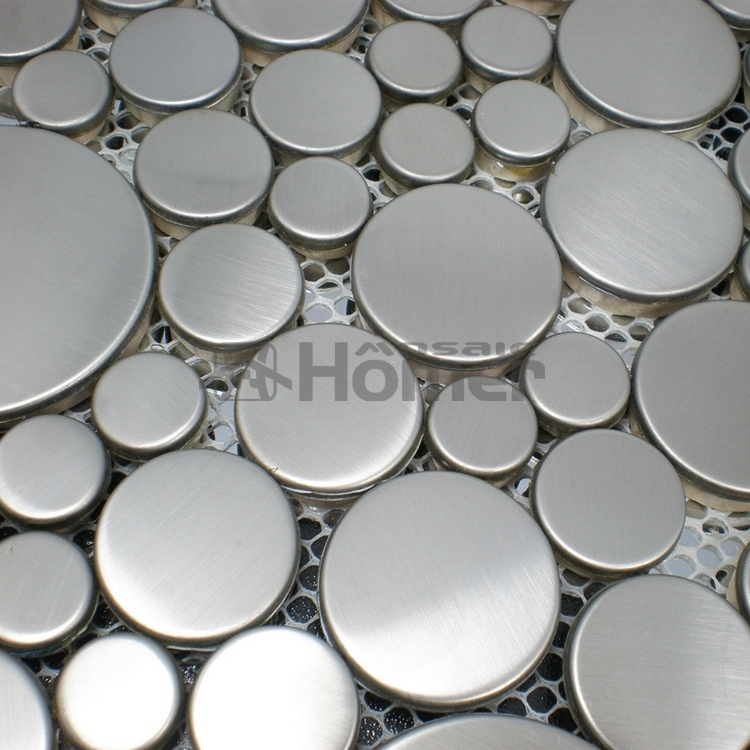 Free Shipping Big And Small Round Silver Drawbench Stainless Steel Mosaic Kitchen Backsplash Tile Hme8022 Home