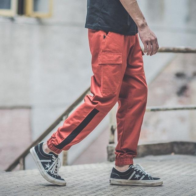 Streetwear Harajuku Contrast Striped Cargo Pants Drawstring Jogger Pants Twill Sweatpants Free Shipping