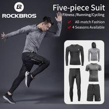 ROCKBROS męskie dresy sportowe zestawy do biegania szybkie suche pochłaniające pot sportowe biegaczy trening siłownia dresy zestawy do biegania