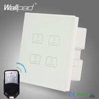 Remote 4 Gang Switch New Design Wallpad White Crystal Glass 4 Gang 2 Way 3 Way