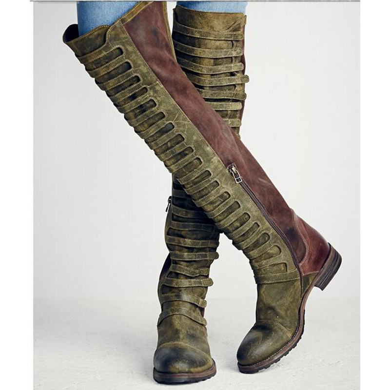 Faux Suede Gladiator Retro Army Boots Over The Knee Women Snow Boots Winter Thigh High Boots Shoes Woman Green botas Size 35-43 ppnu woman winter nubuck genuine leather over the knee snow boots women fashion womens suede thigh high boots ladies shoes flats