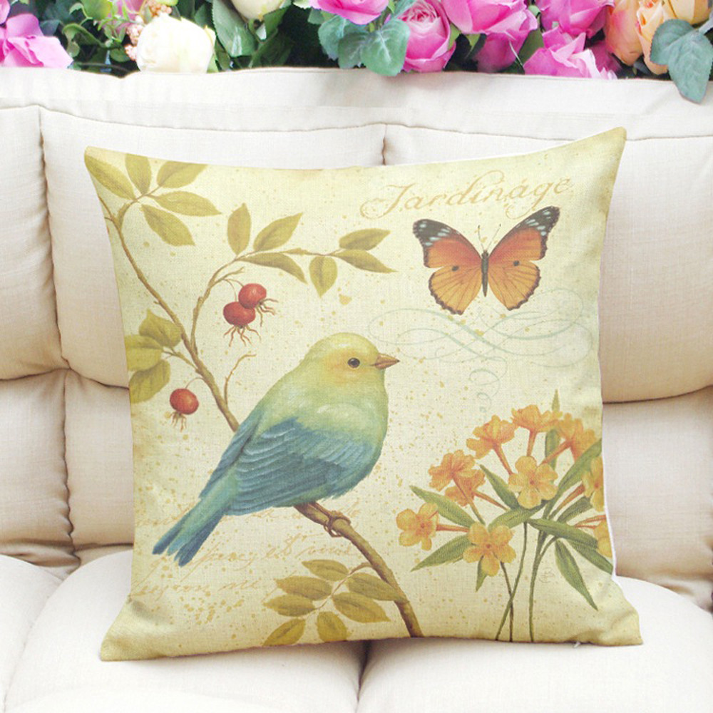 45*45cm Painting Birds Printing Cushion Cover 2018 otton Linen Dyeing Sofa Bed Home Decor Pillow Cover Colorful Pillowcase-in Cushion Cover from Home & Garden