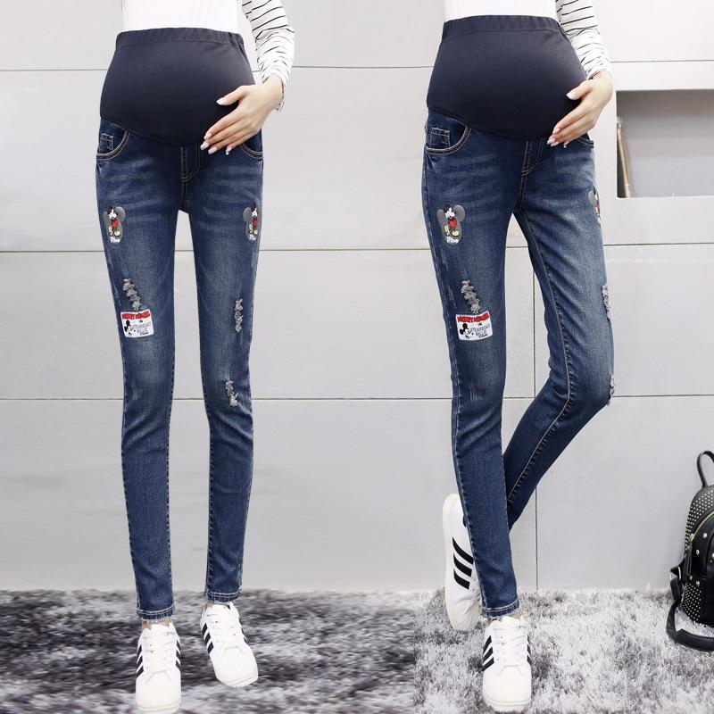 Maternity Jeans for Pregnant Woman Hot Sale Holes Elastic Waist Denim Pants Clothes for Pregnant font