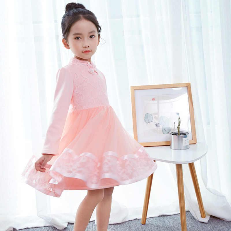 1b1def041930c4c ... Праздничные платья для девочек от 3 до 12 лет, китайское Кружевное  платье-пачка принцессы ...