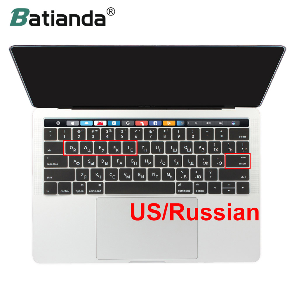 US Russian Layout For Macbook Pro 13 15 inch New 2016 2017 2018 2019Touch Bar & Retina Display Silicone Keyboard Cover Protector image