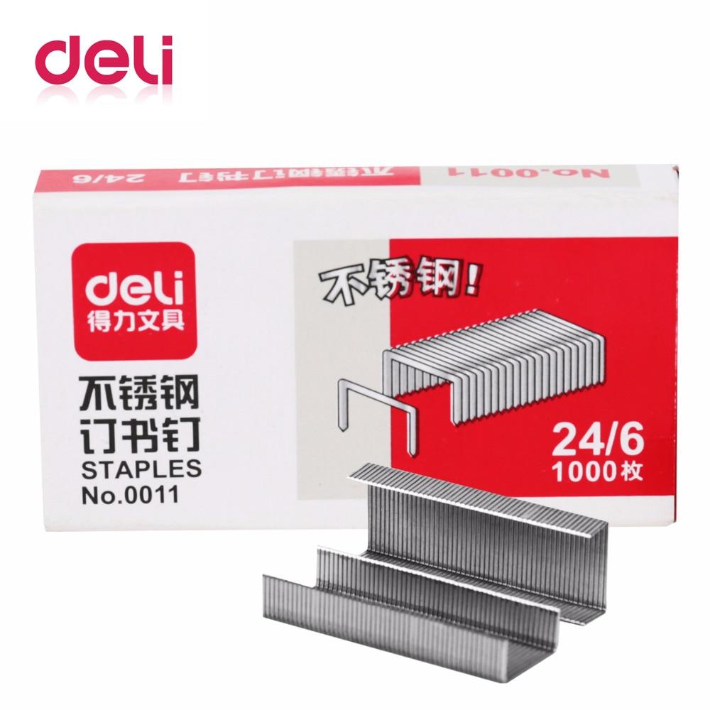 Deli Staples 1000 Pcs/box 24/6 7*3.7*1.5cm Office Staples For Stapler Paper Binding Stationary Stainless Steel Stapler School