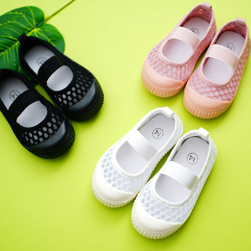 Brand Children Summer Hollow Big Mesh Sandals Kindergarten Boys  White Single Shoes Girls Girls Soft Bottom Sandals 1-8 Years