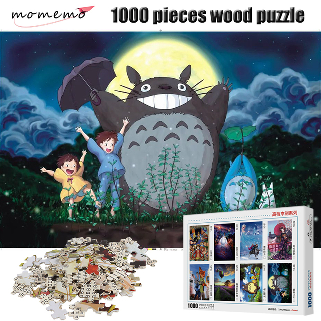 MOMEMO My Neighbor Totoro 1000 Pieces Puzzle Cartoon Anime Wooden Puzzles 1000 Pieces Jigsaw Puzzle Children Educational Toys