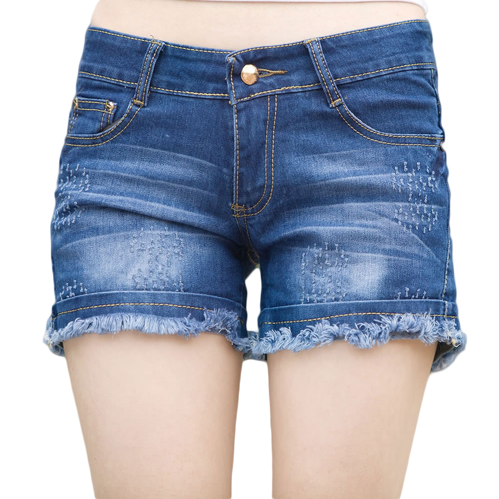 Blue short denim shorts for womens plus size ragged jeans shorts for ...