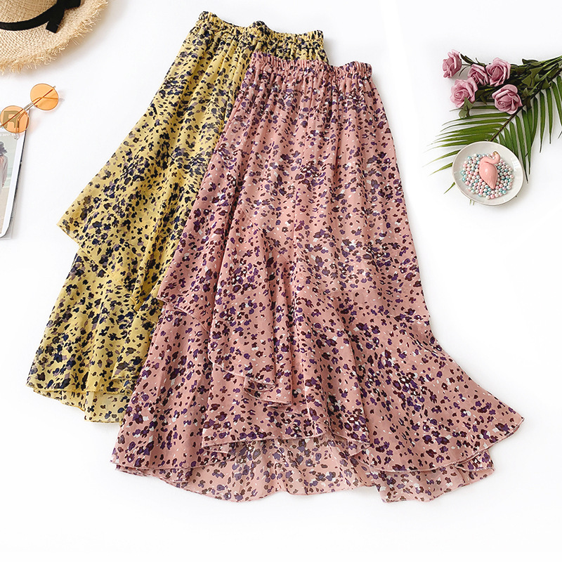 Wasteheart Pink Yellow Flower Printed Women Skirts High Waist Asymmetrical Long Skirts A-Line Chiffon Clothing Plus Size Ankle