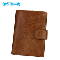 GDZHLBAG Vintage Wallet Brand High Quality Vintage Designer Genuine Crazy Horse Cowhide Leather Men Short Coin