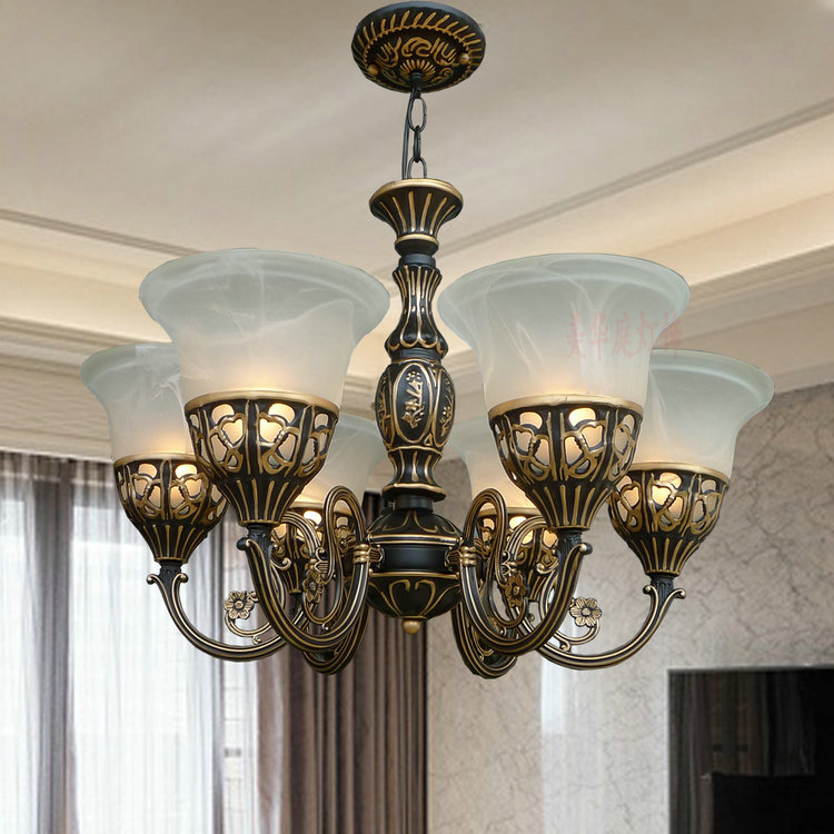 A1 American country simple European style chandelier chandelier creative retro iron lamp dining room bedroom lamps ZX14 american creative personality features simple and warm bedroom dining room chandelier retro country iron chandelier