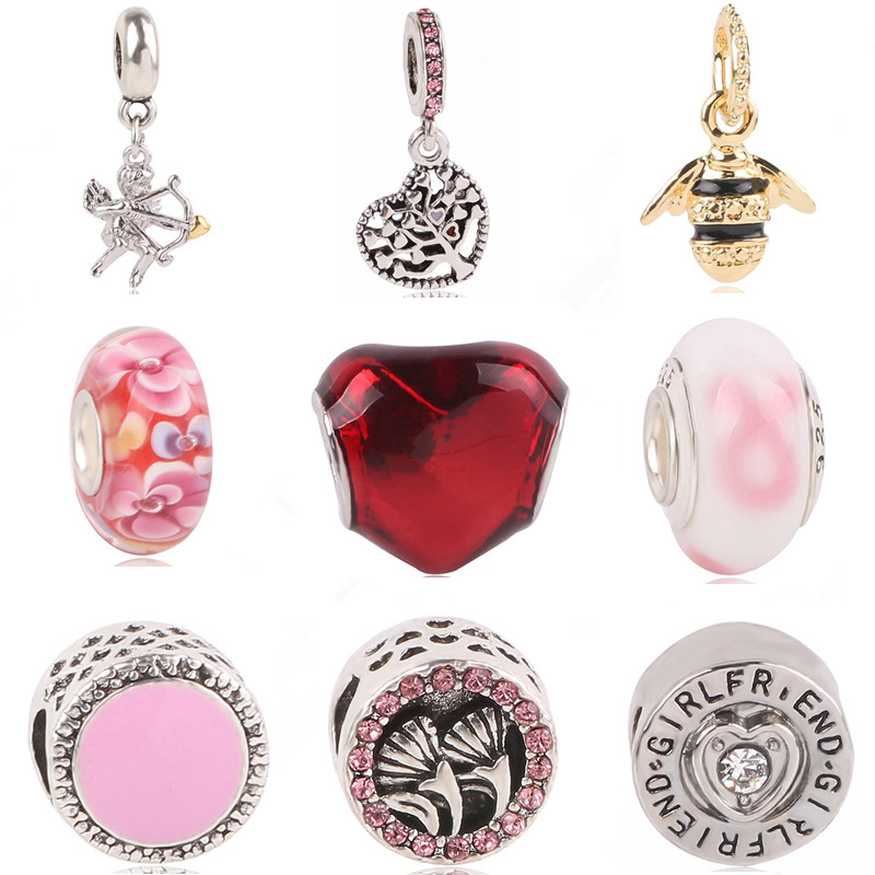 Pink Easter Egg with Clear Crystal Band Custom Year Stainless Steel Heart Bead Charm