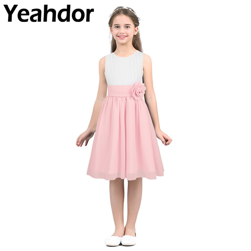 Wedding Party Dress Kids Girls High Waist Sleeveless Pleated Flower Girl Dress Princess Vestidos For Pageant Wedding Holiday Birthday Party Dress 2019 Official