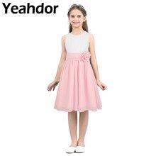 Kinder Mädchen Hohe Taille Sleeveless Gefaltetes Blume Mädchen Kleid Prinzessin Vestidos für Pageant Hochzeit Urlaub Geburtstag Party Kleid